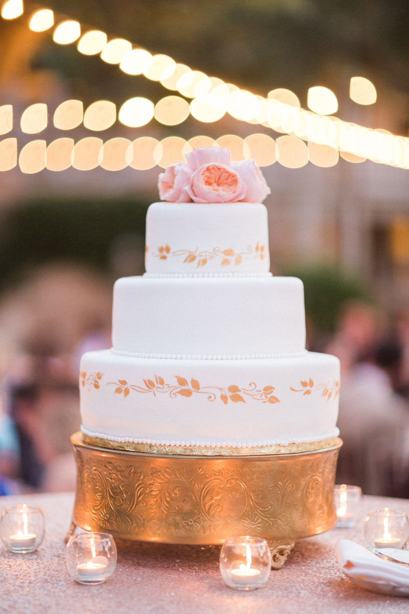 classicwhiteweddingcakegoldstencildetailpearlaccentpeonytopper