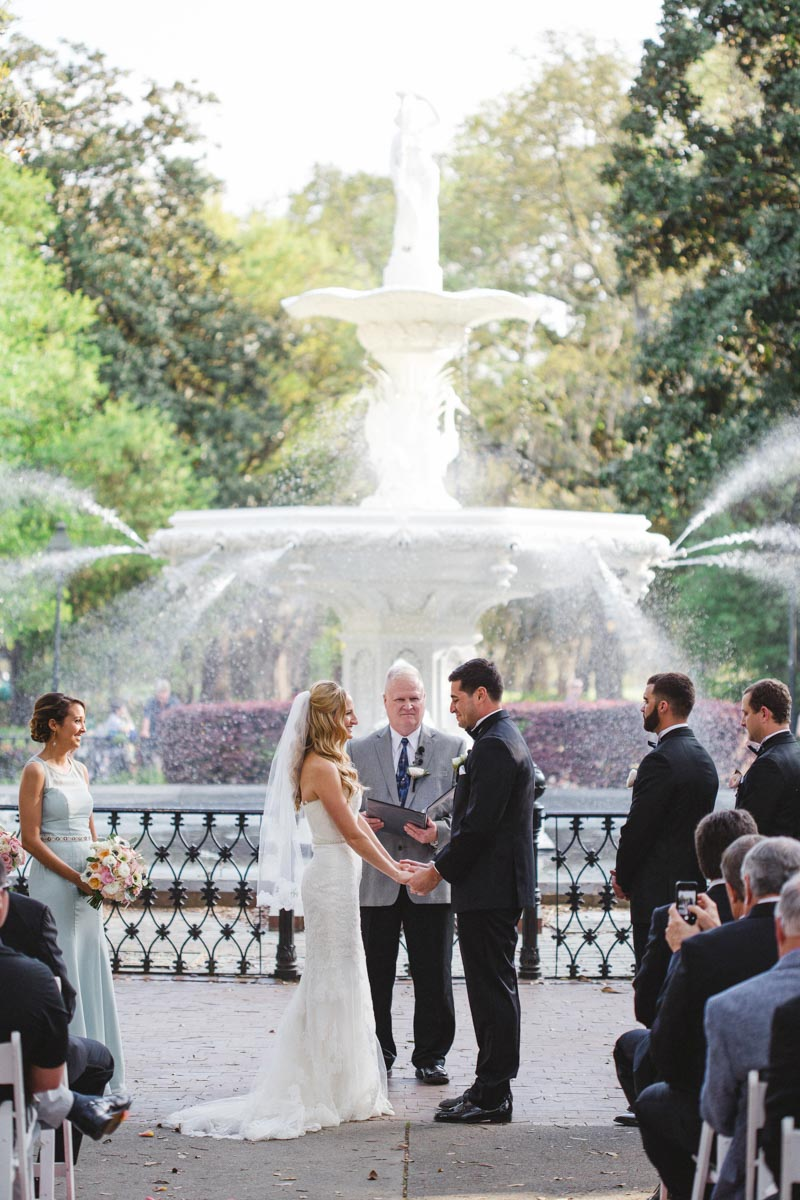 An Outdoor Wedding At Forsyth Park In Savannah Ga The