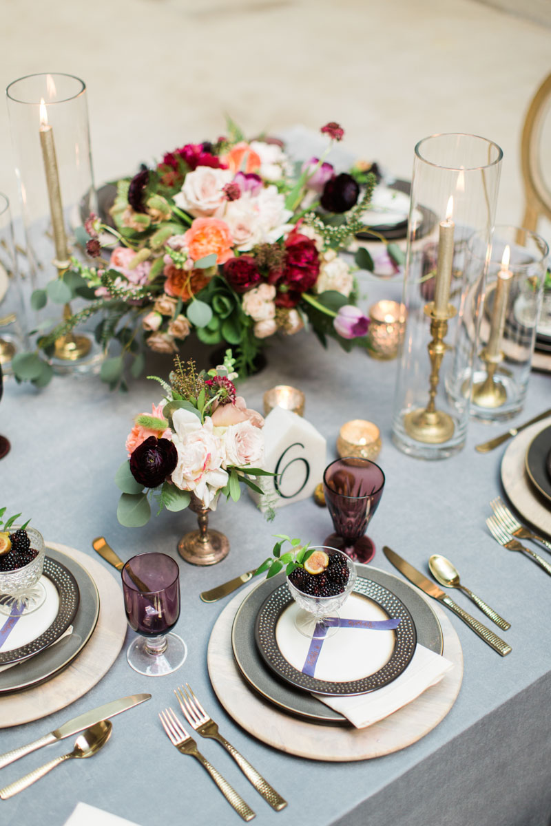 gray eggplant gold wedding palette inspiration