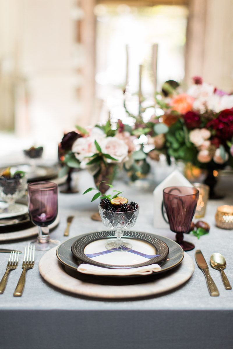 gray eggplant purple wedding place setting