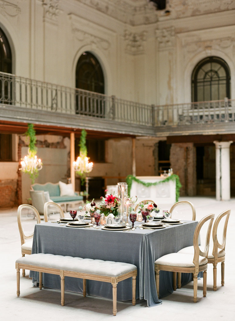 gray velvet winter wedding reception dinner table