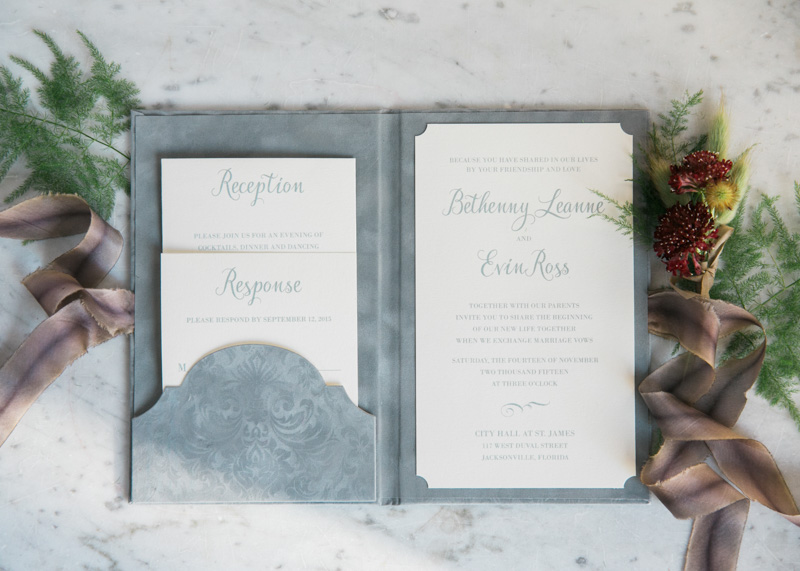 gray wedding invitation suite book silk ribbon