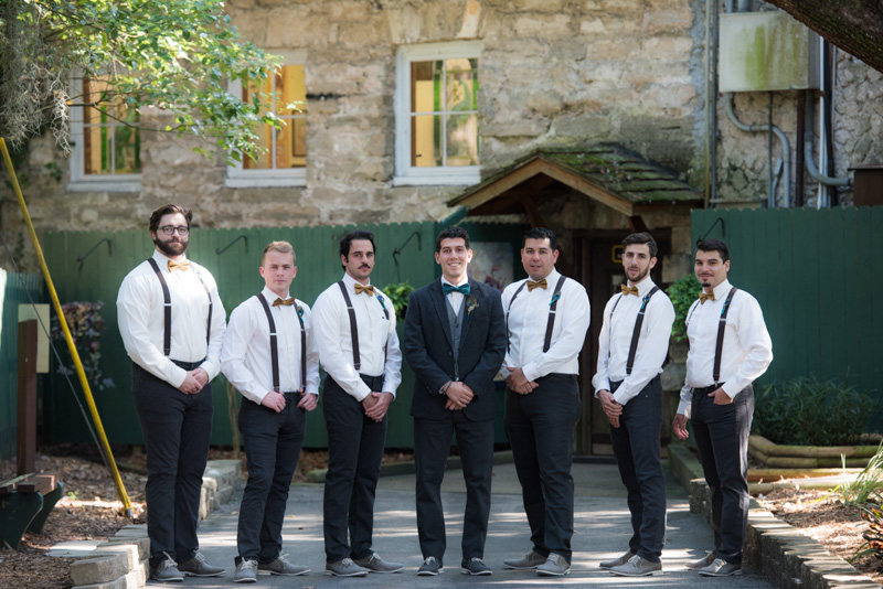 groom and groomsmen suspenders bowties gray