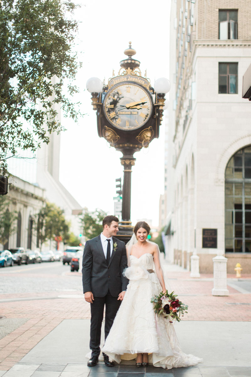 jacksonville wedding bride groom laura street clock tower
