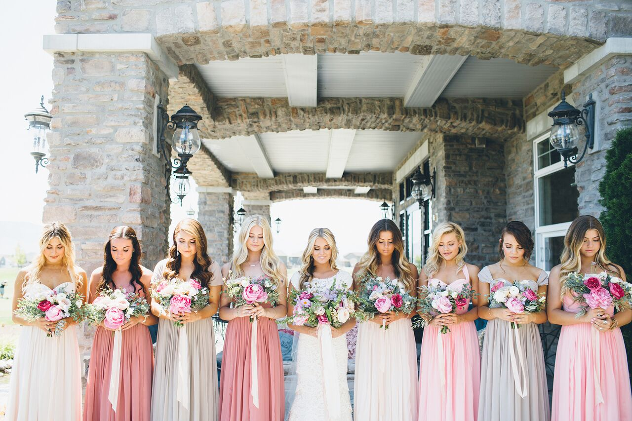 jessica Janae photography danielle rothweiler event design bridesmaids mixed dresses and bouquets