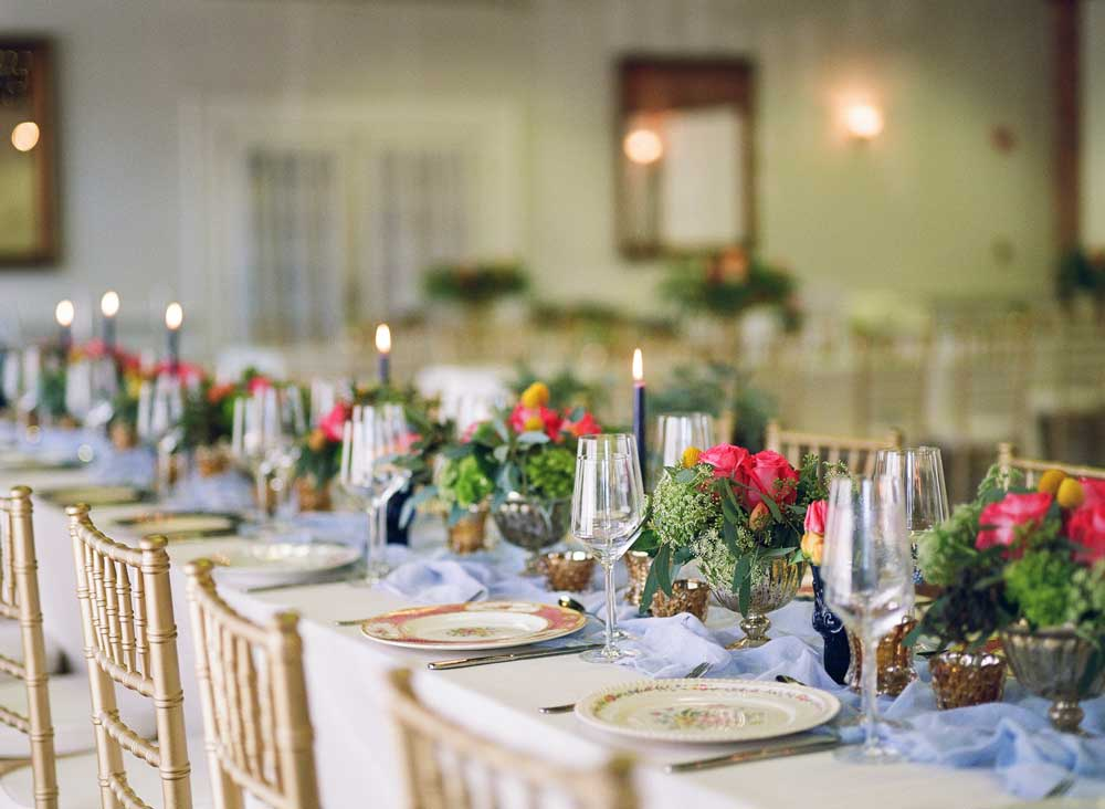 Long Wedding Reception Table With Vintage China The Celebration
