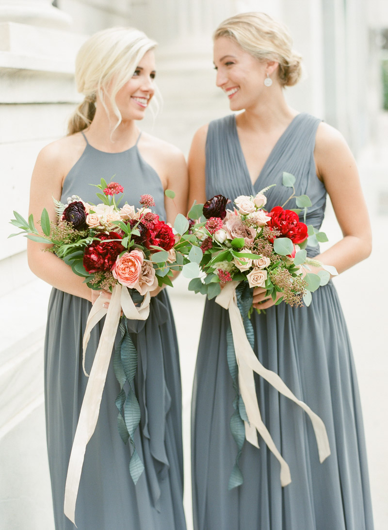 red purple winter wedding bridesmaid bouquets