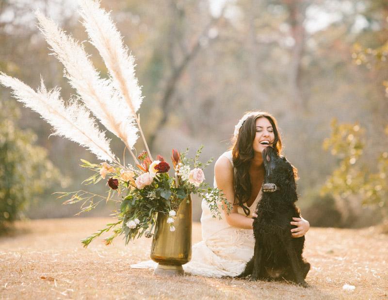 rusticfeatherinspired-bridewithdog
