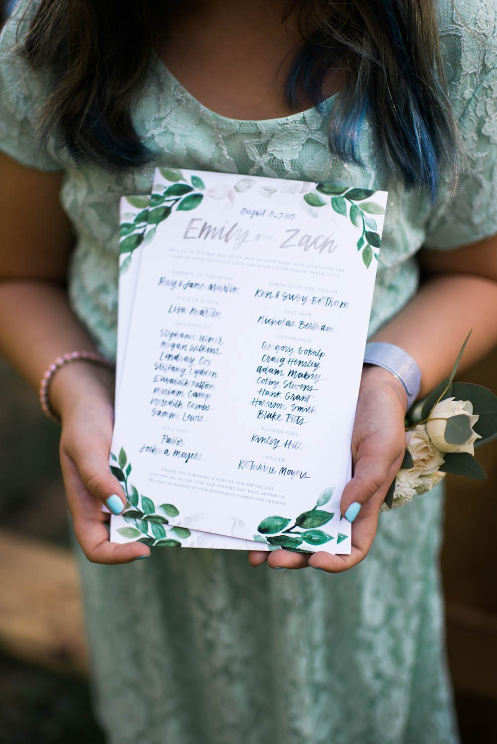 watercolor wedding program holly von lanken photography 8 the