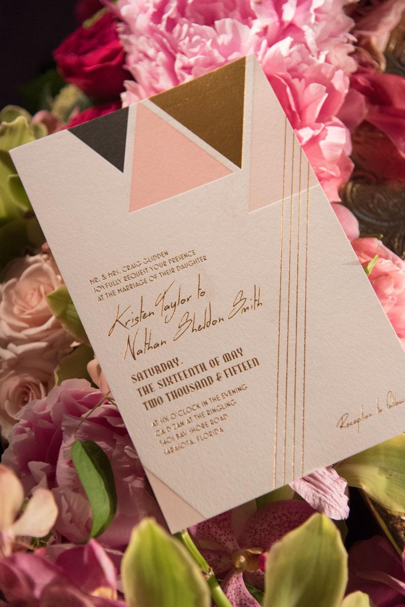 weddinginvitationpinkgoldtriangles