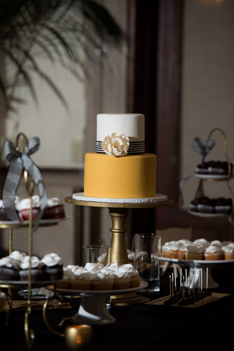 yellow two tier wedding cake