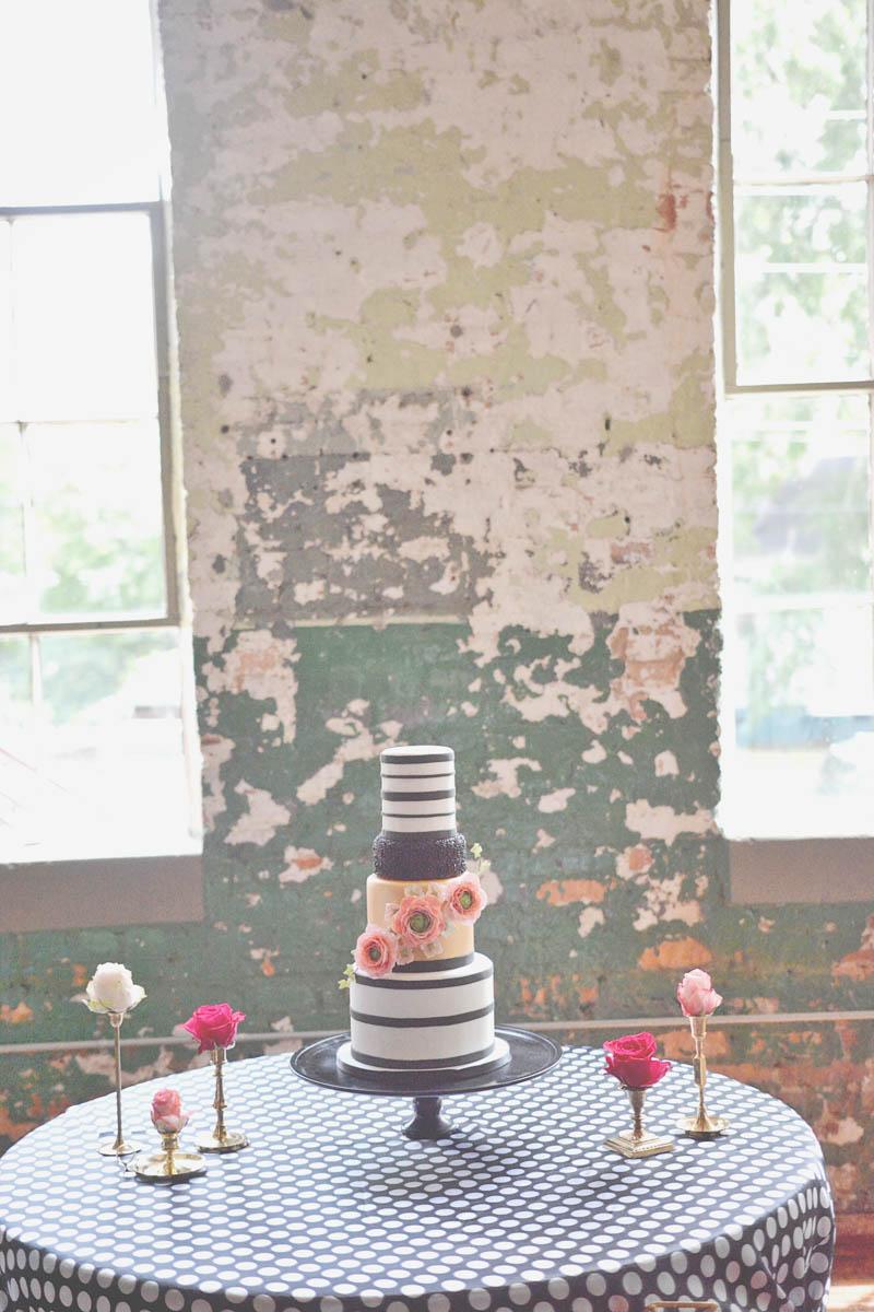 Black & White Striped Cake