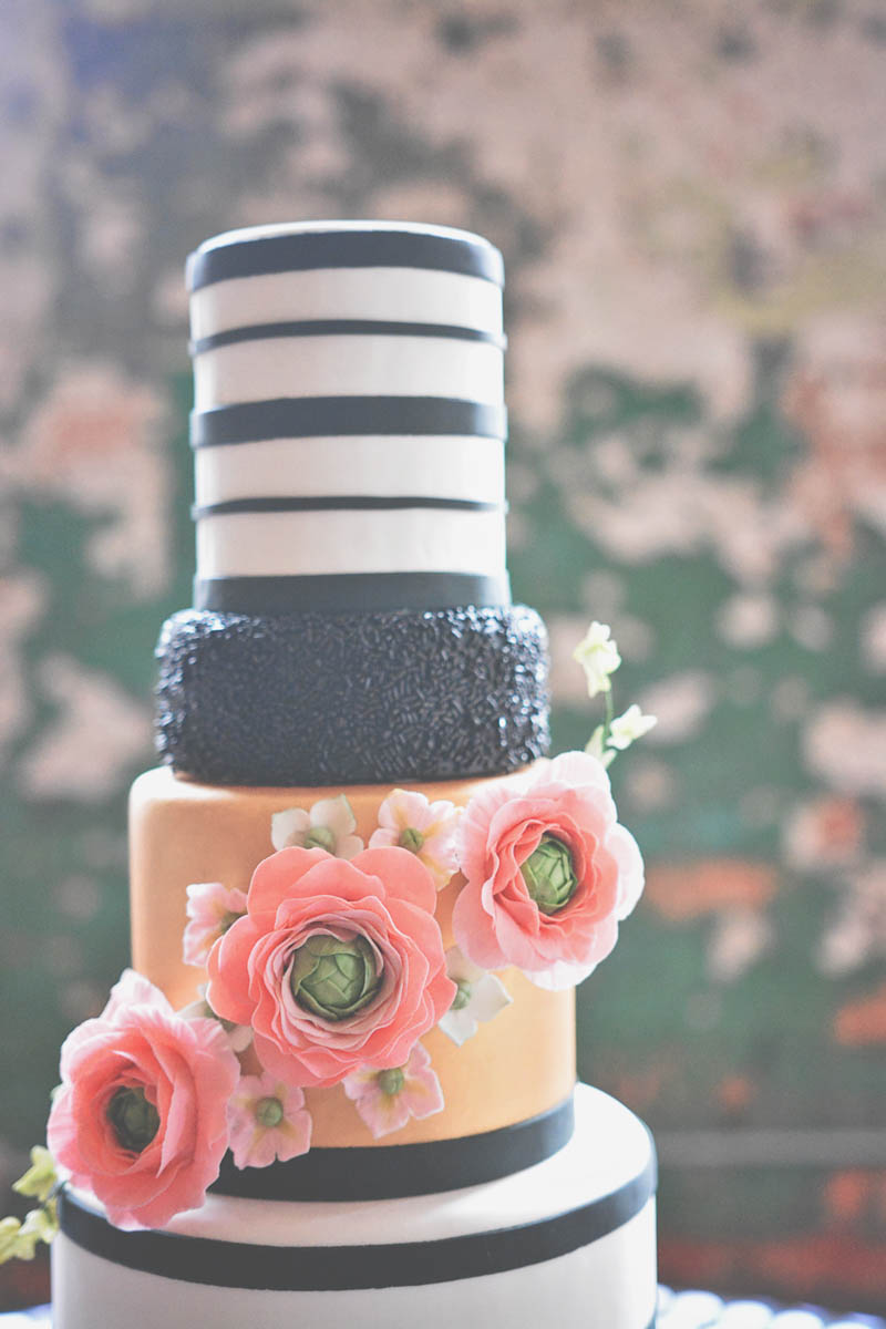 Black & White Striped Cake 2