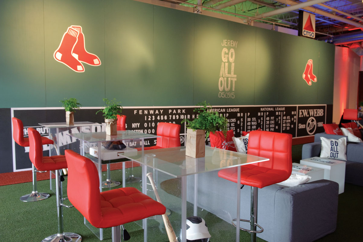 Boston Red Sox Themed Lounge Area With Sports Decor
