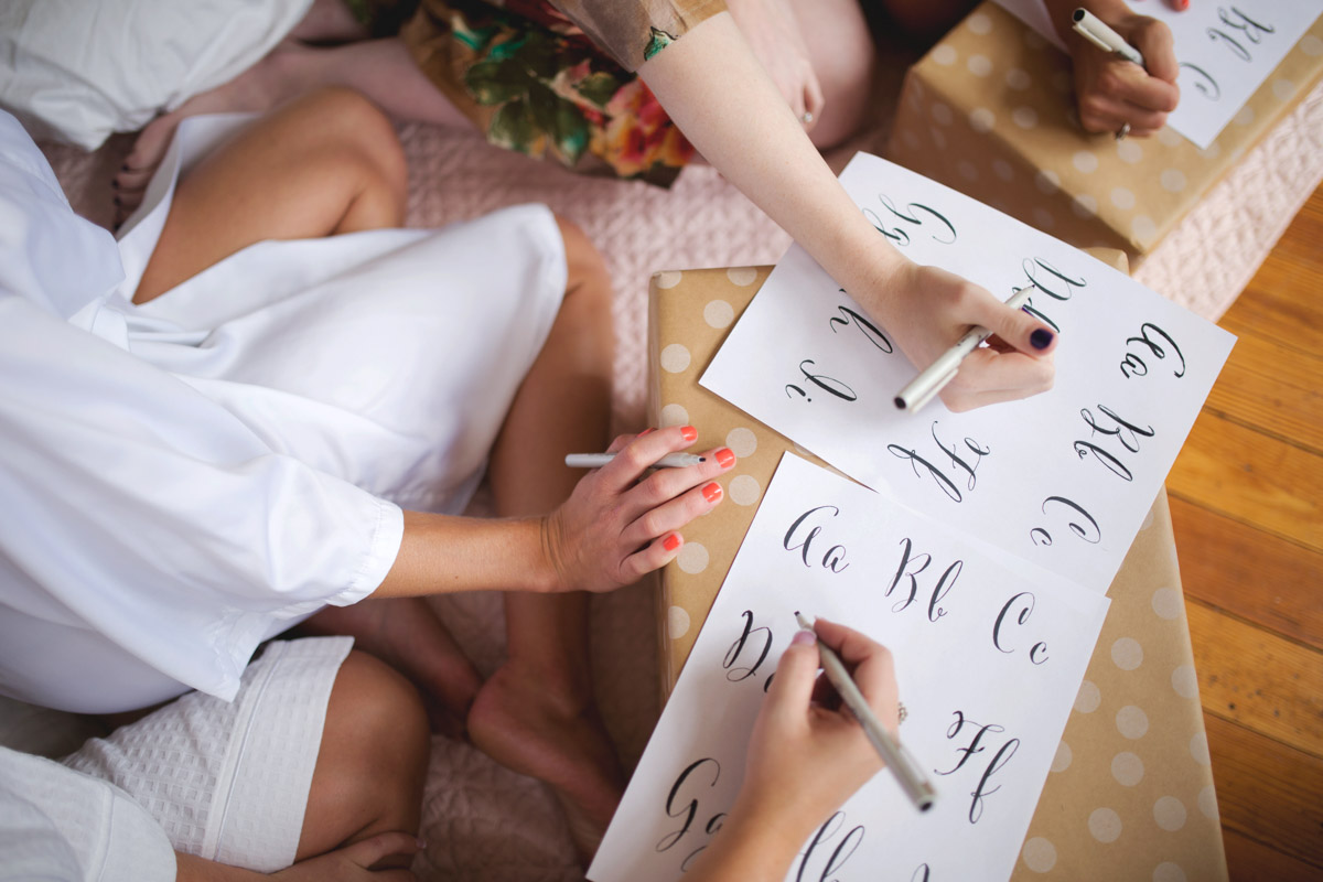 Bridal Shower With Bridal Party Writing Calligraphy