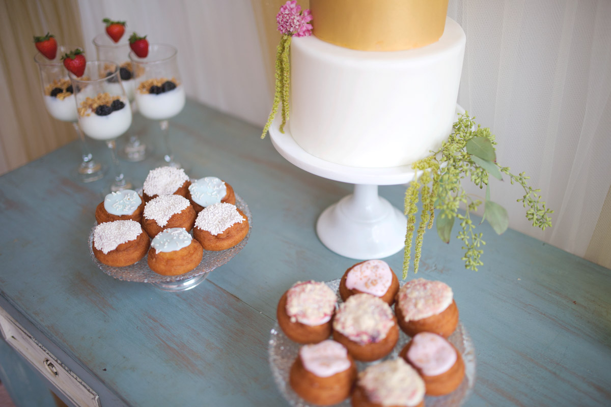 Dessert Donuts and Yogurt in Wine Glasses