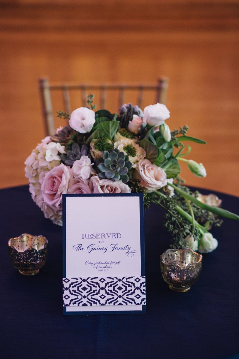 Family Table With Navy Placecard