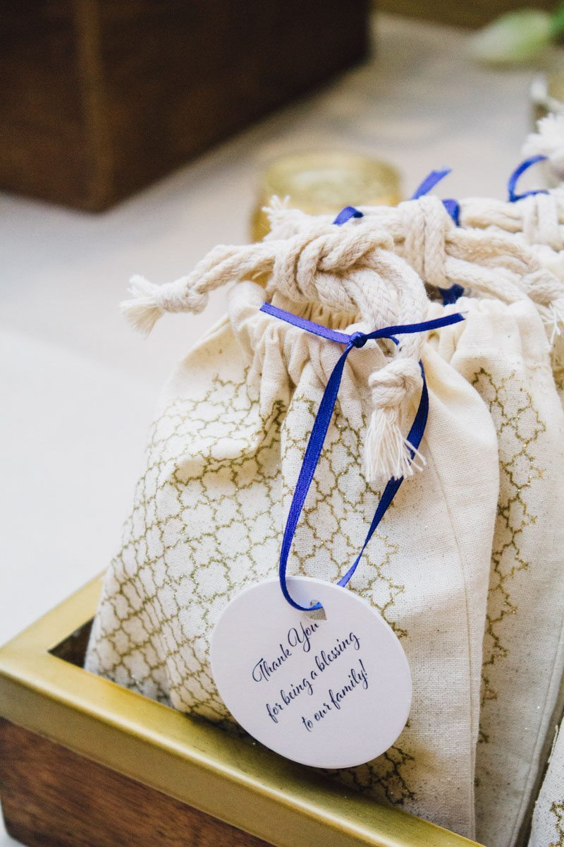 Favor Baggies With Blue Ribbon Closeup