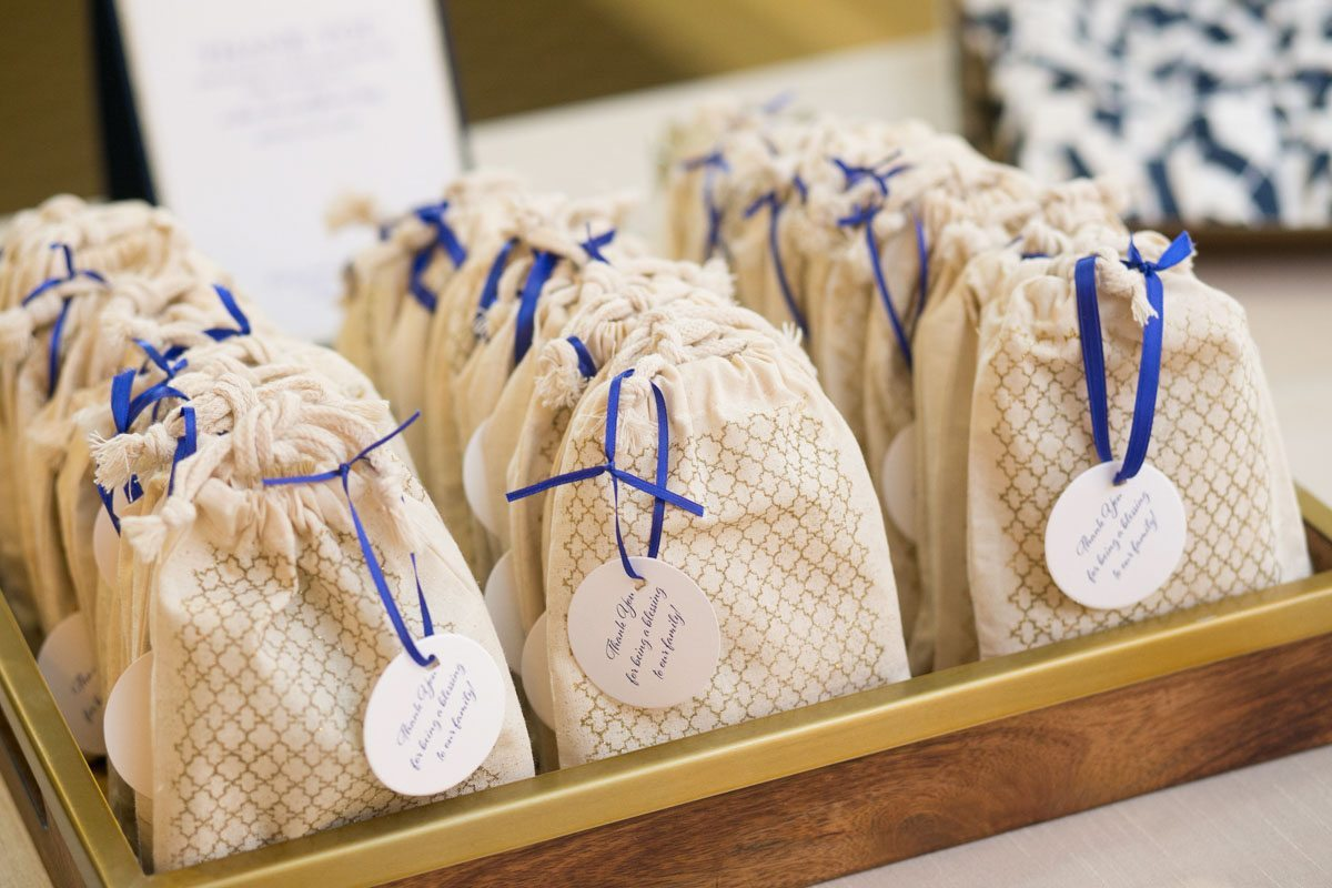 Favor Baggies with Blue Ribbon