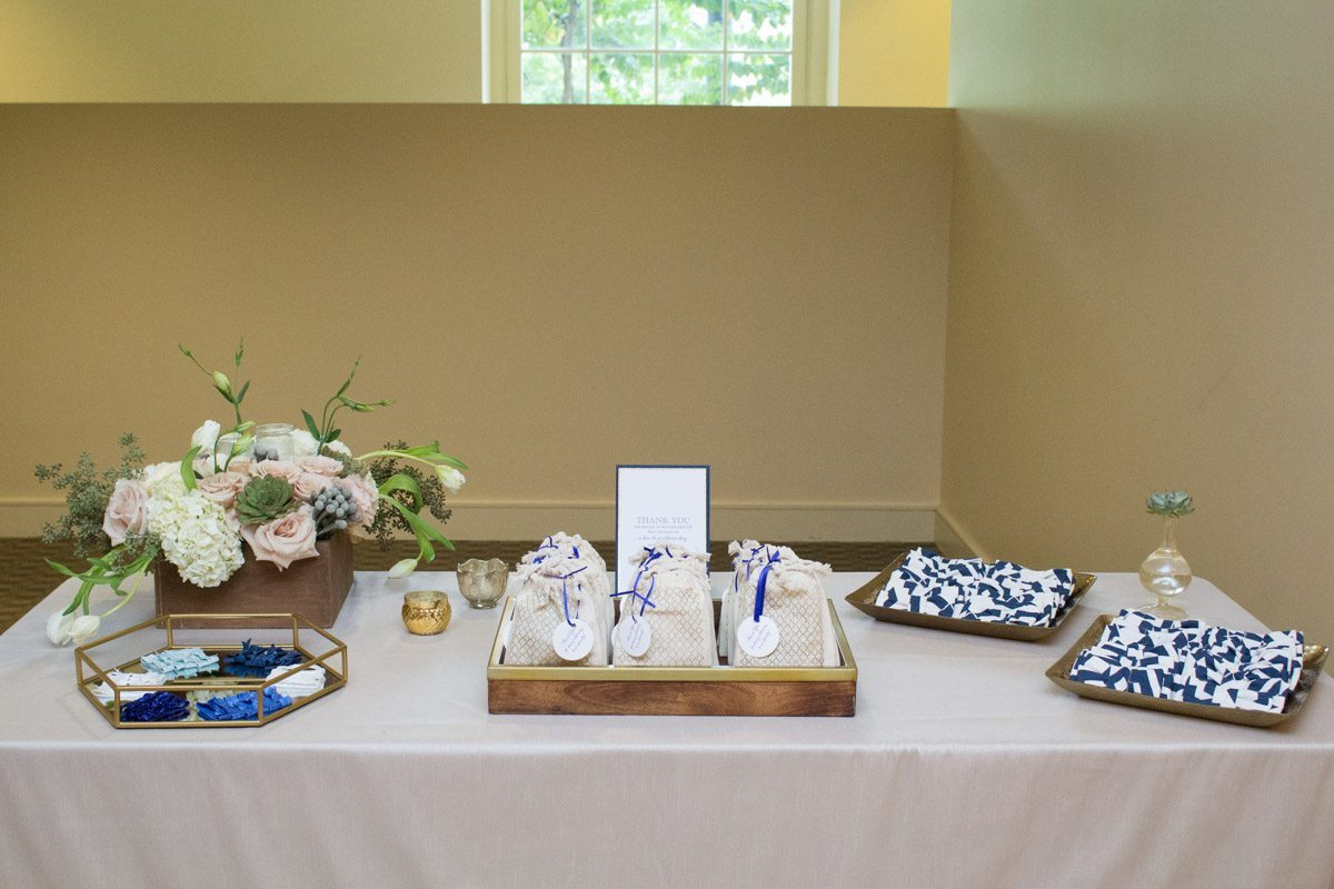 Favor Table With Navy Blue Favors