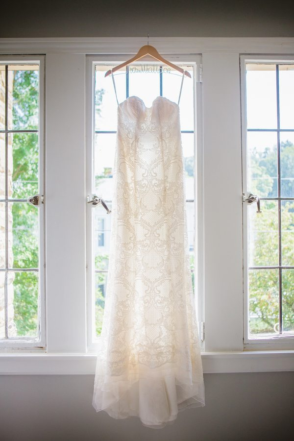 Fitted white lace wedding dress
