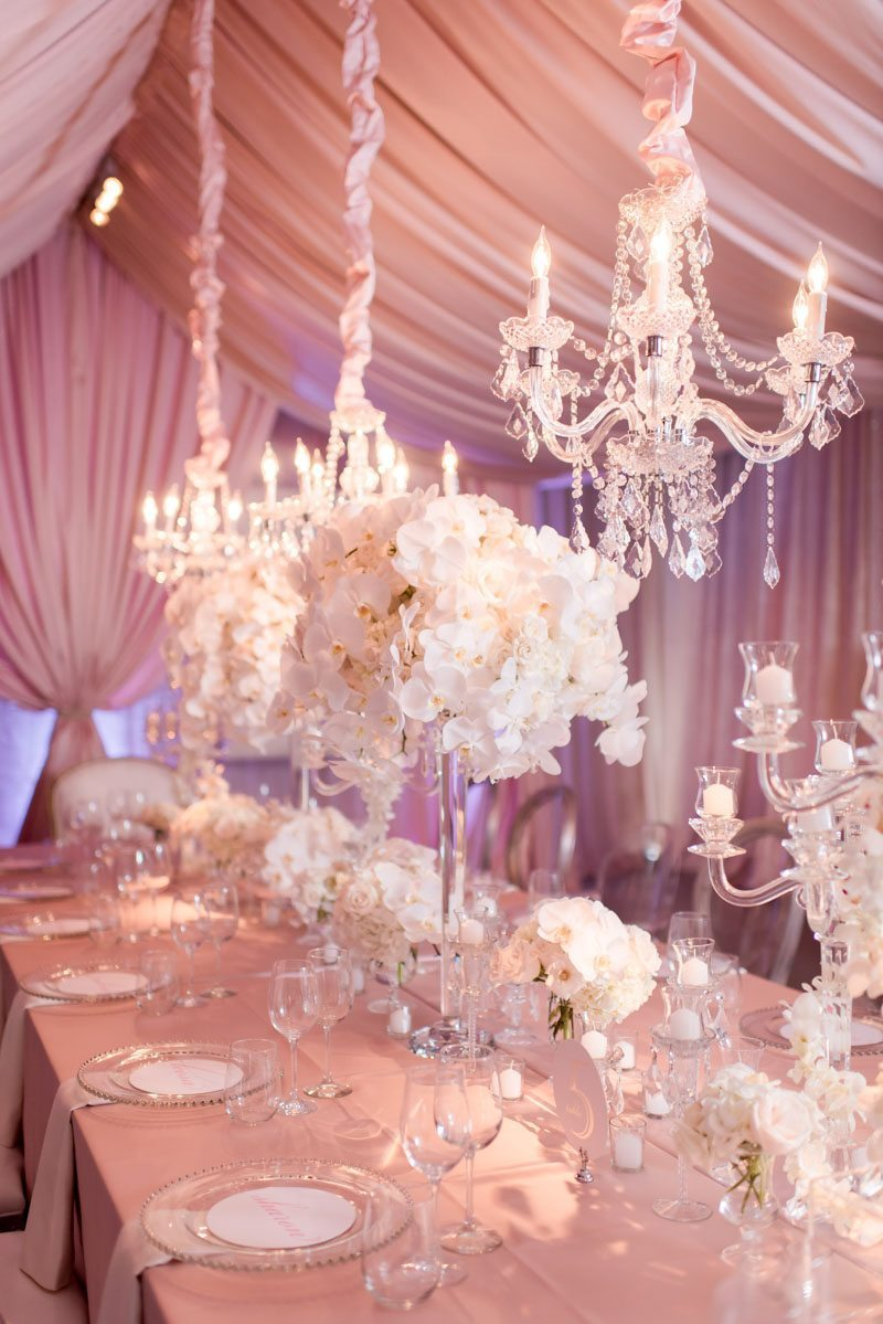 Floral Centerpiece and Chandelier Party Decor