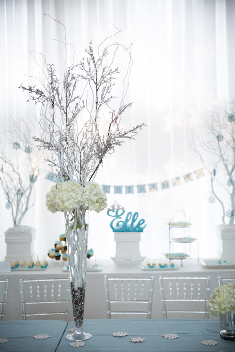 Frozen Themed White Floral Centerpiece With Branches