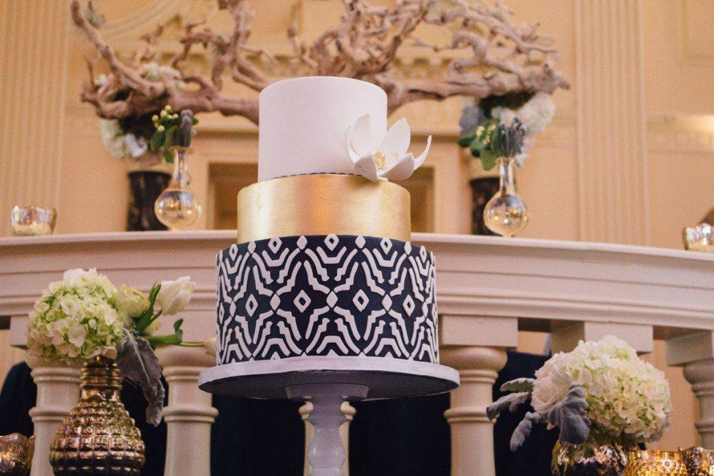 Gold Black White Party Cake