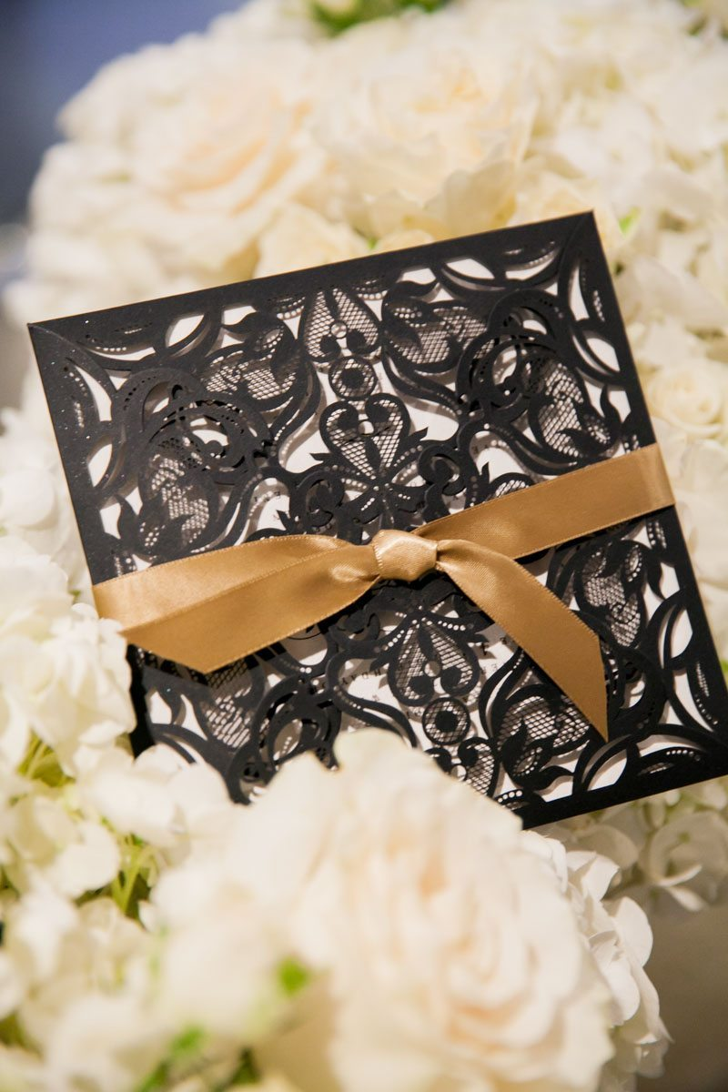 Gold Ribbon on Black Invitation