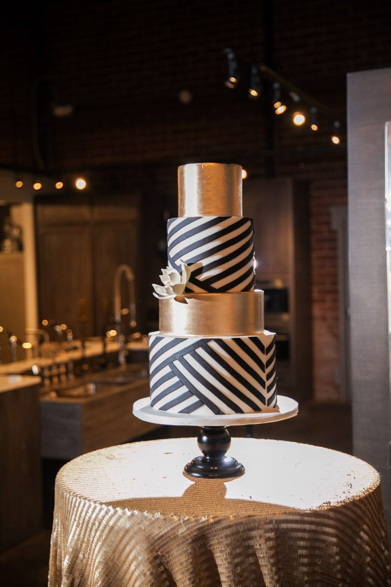 Gold White and Black Party Cake