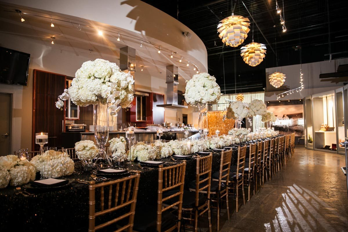 Gold White and Black Table Decor