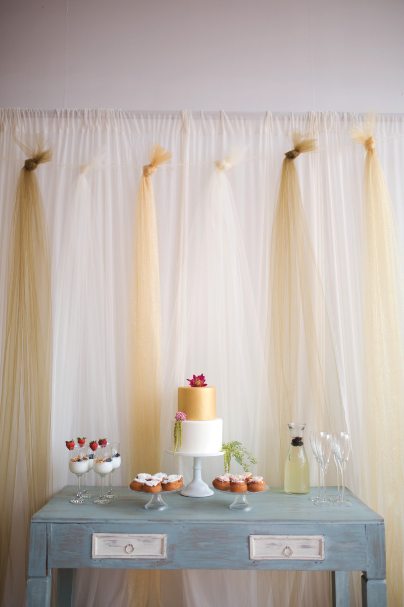 Gold and White Table Decor