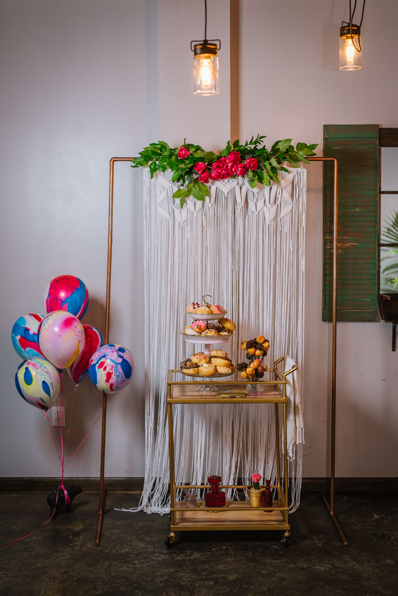 Good Vibes Colorful Balloon Party Decor and Dessert Cart