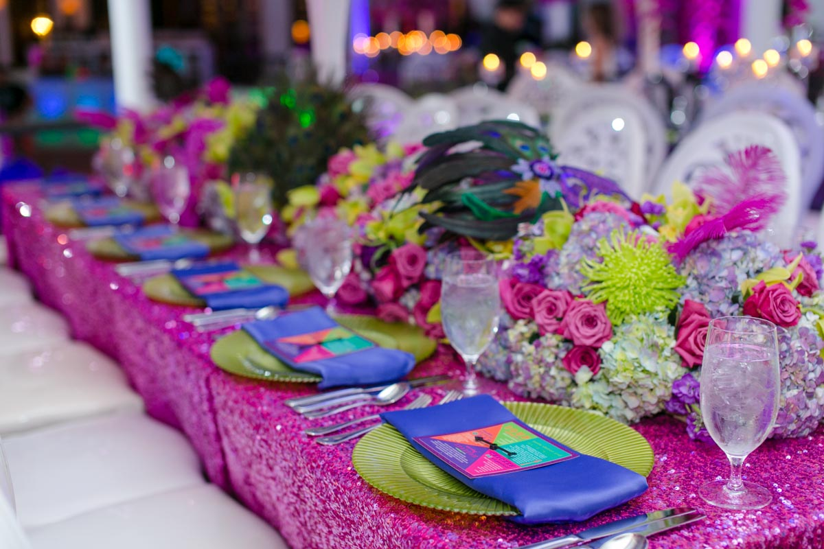 Green Pink and Purple Placesetting Design