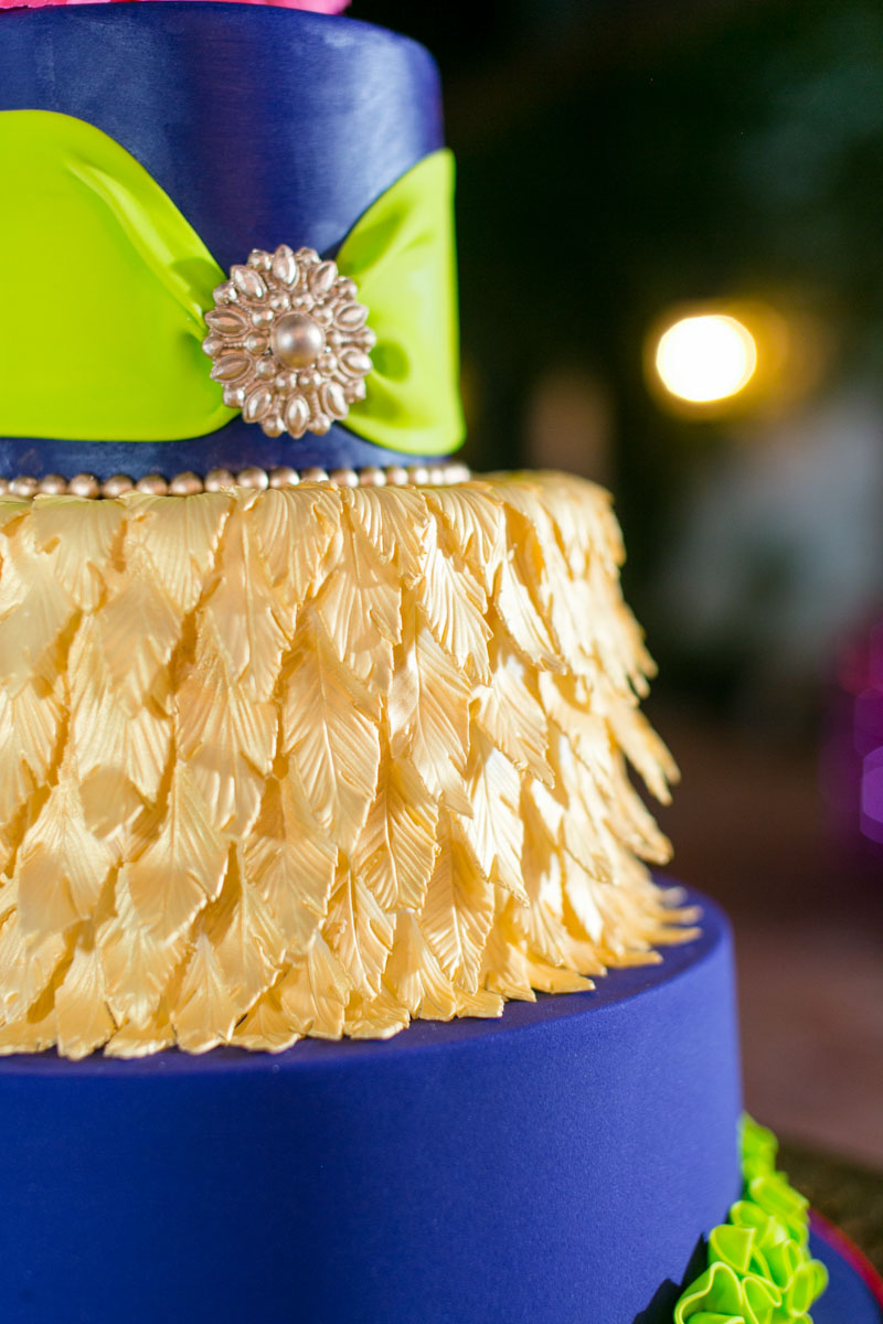 Masquerade Themed Cake With Golden Feather Design Closeup