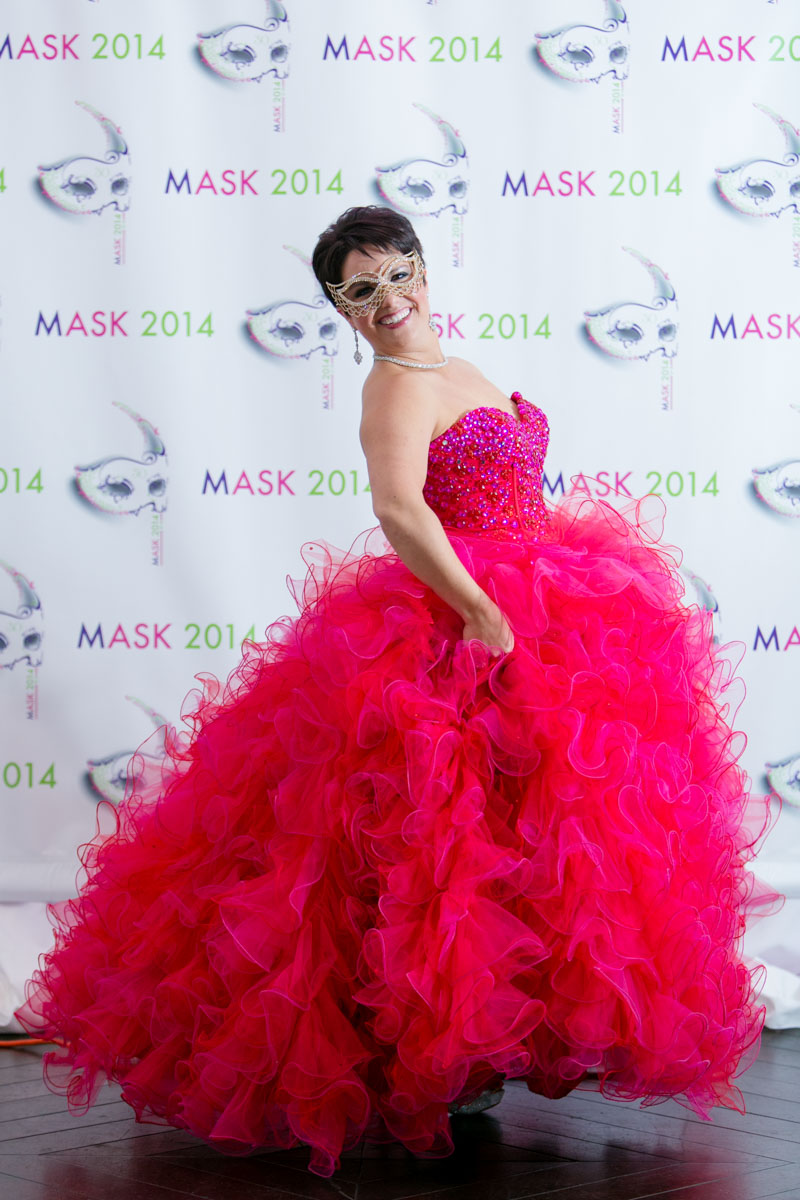 Pink Party Dress With Masquerade Mask