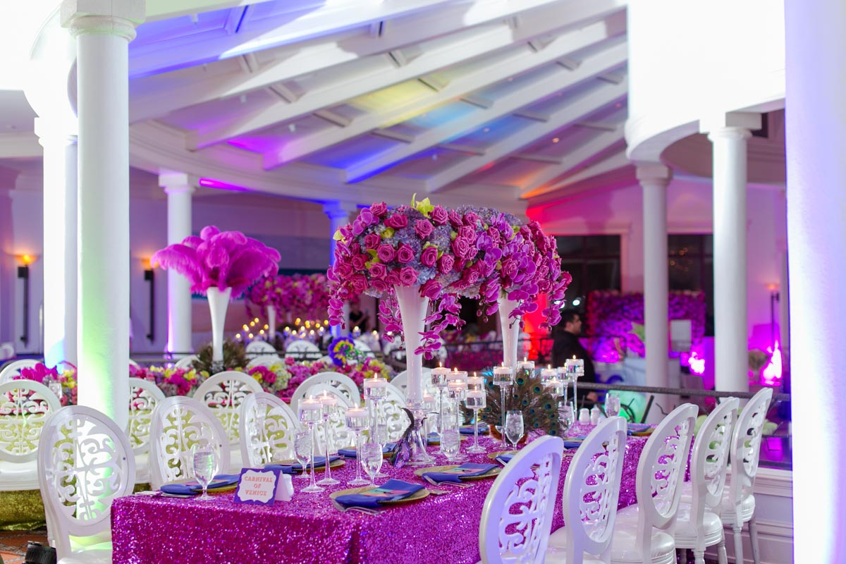 Pink Purple and White Party Table Decor