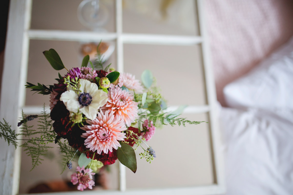 Pink White and Red Floral Arrangement