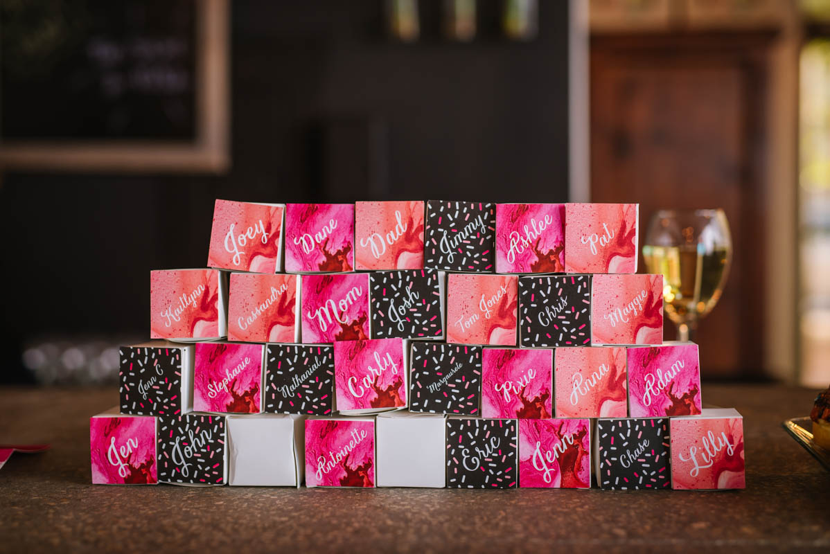 Pink and Black Guest Party Favor Boxes