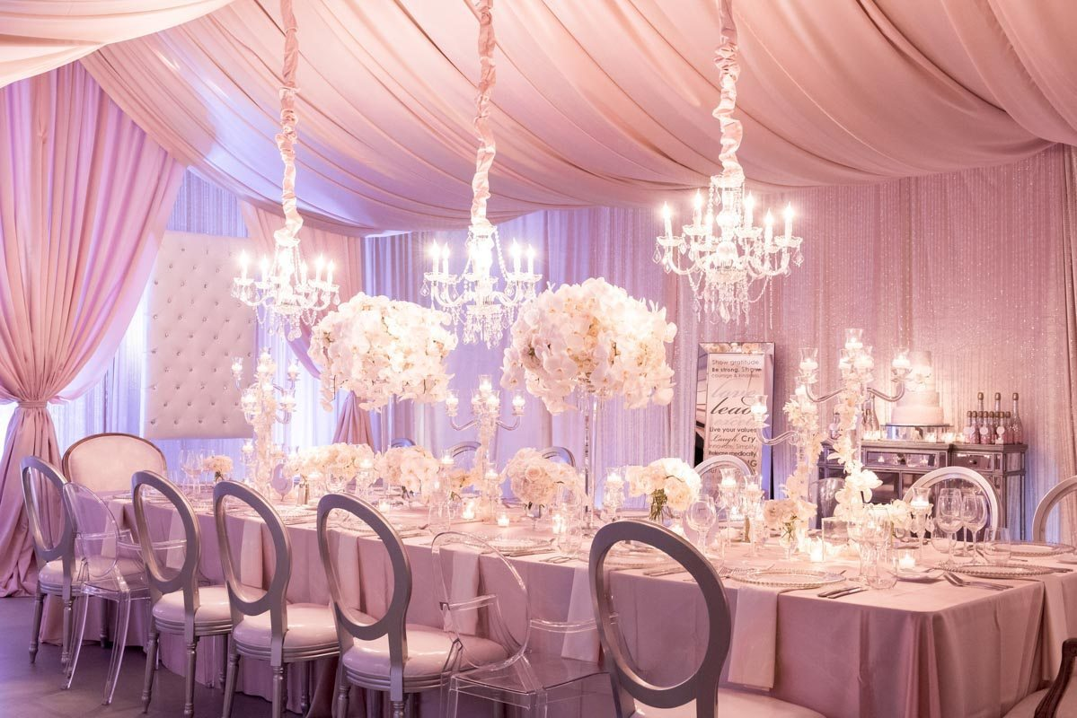 Pink and White Tablescape Decor