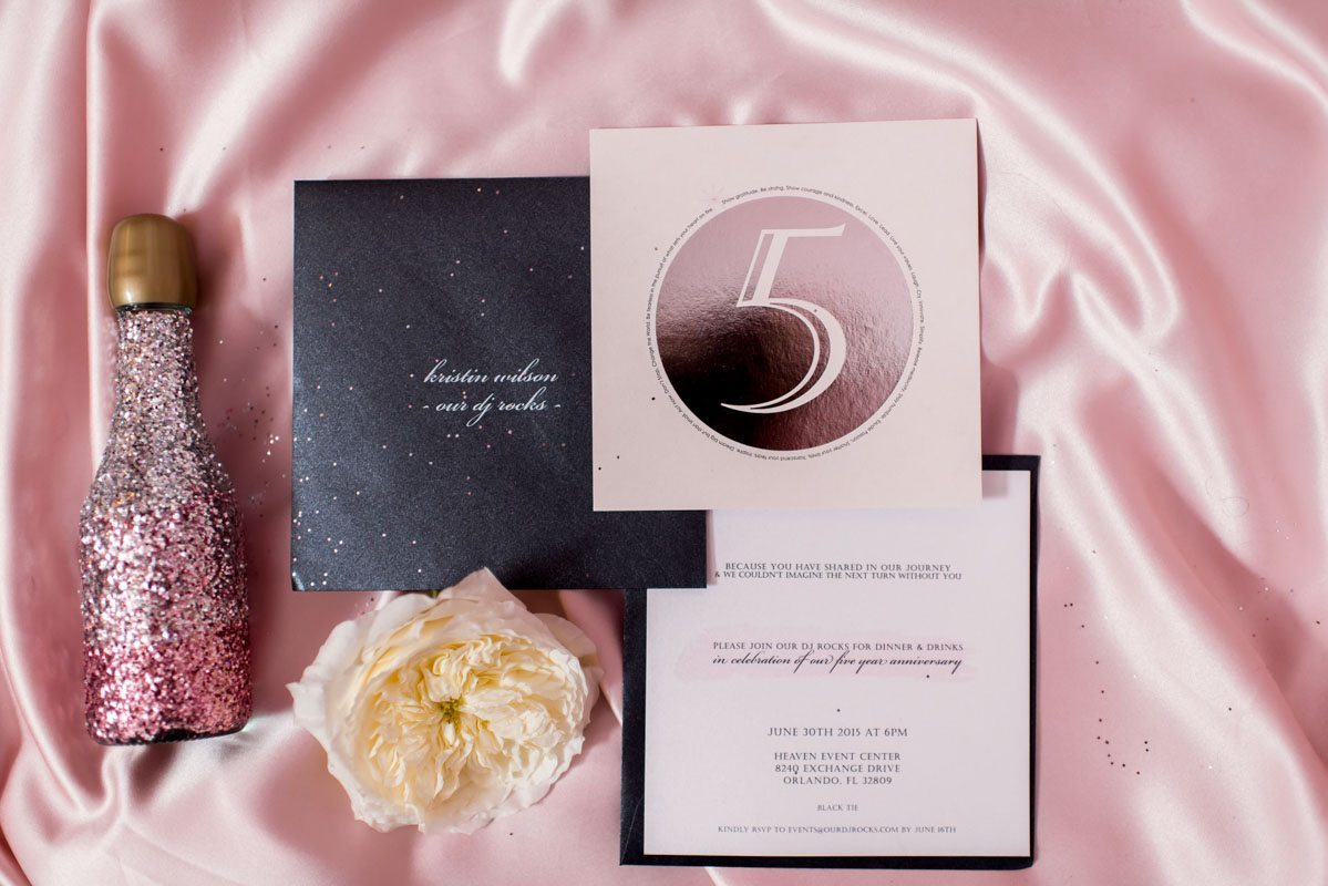 Pink white and black glitter invitation suite