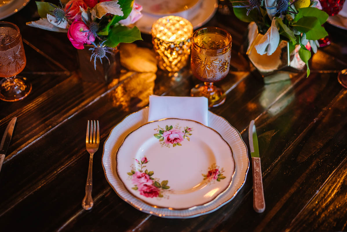 Placesetting With Pink China Dishes