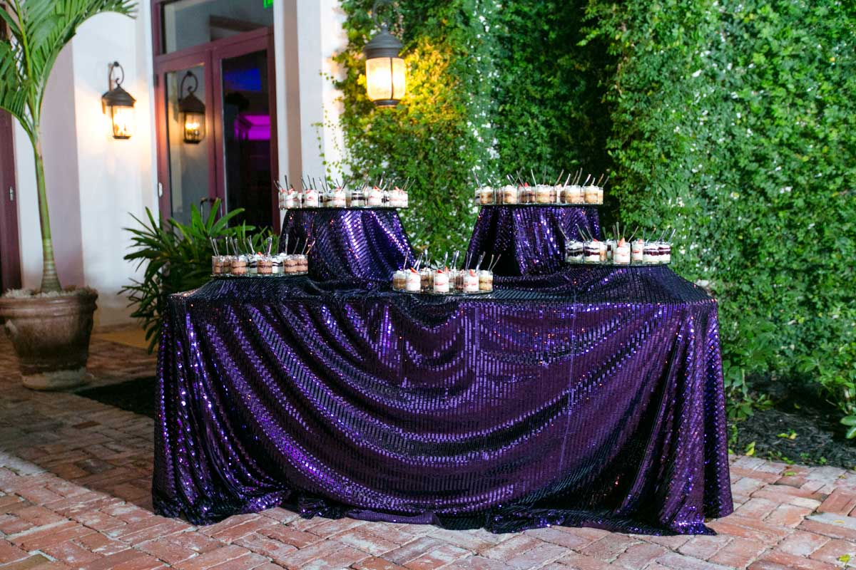 Purple Glitter Dessert Table