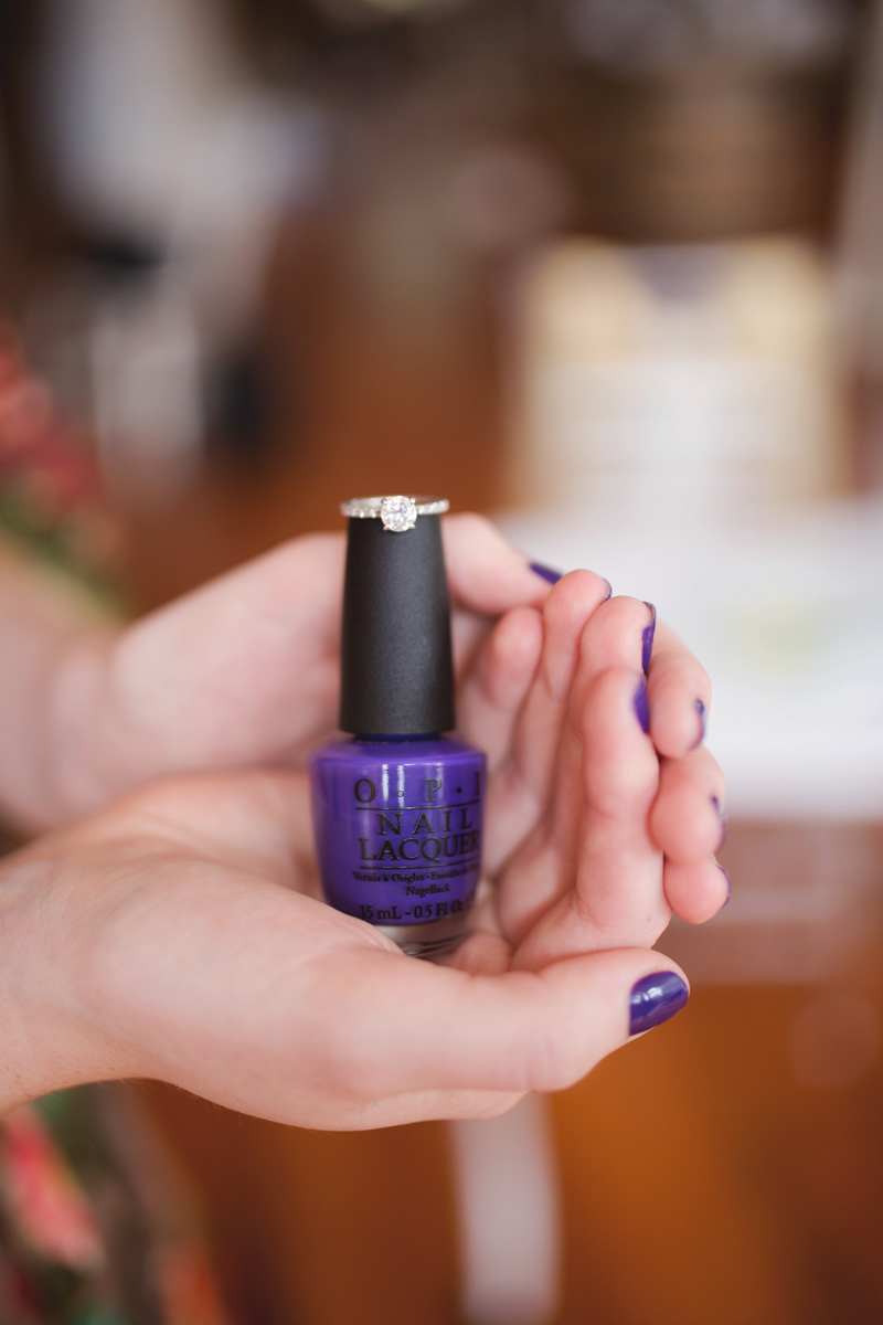 Purple Nail Polish With Engagement Ring