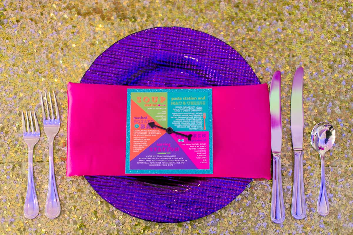 Purple Pink and Gold Placesetting