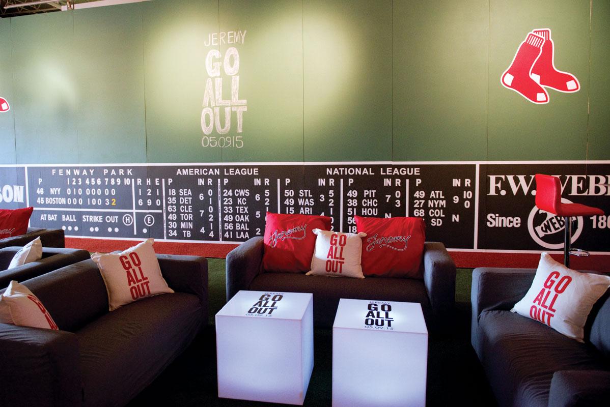 Red Sox Baseball Bar Mitzvah Lounge Area