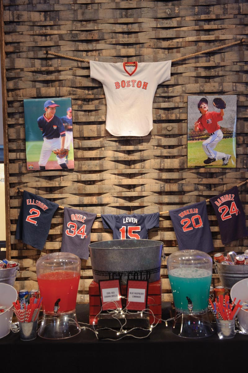 Red Sox Baseball Jersey Drink Table Decor