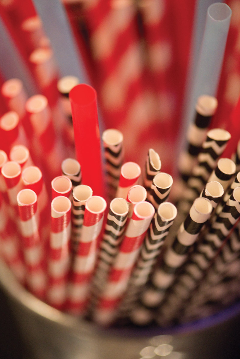 Red and Black Paper Straws