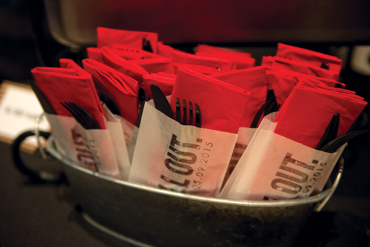 Red and Black Silverware and Napkin Holder