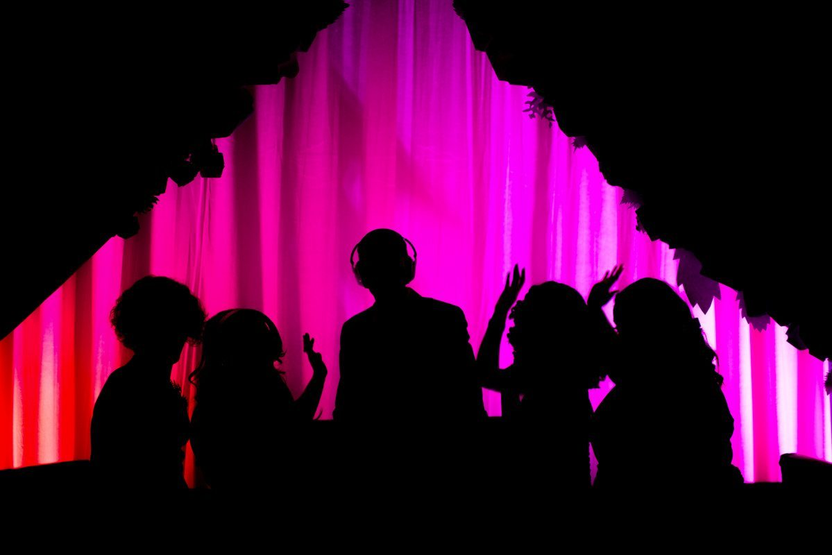 Silhouettes of DJ and guests